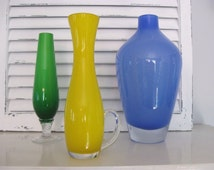 Vintage Yellow Art Glass Vase~Yellow Cased Glass Vase with Handle~Retro Mid Century Collectible Art Glass Yellow Flower Vase