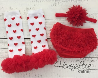 White Red Heart Valentine's Day leg warmers, red flower headband bow ruffle bottom bloomers diaper cover infant baby toddler little girl