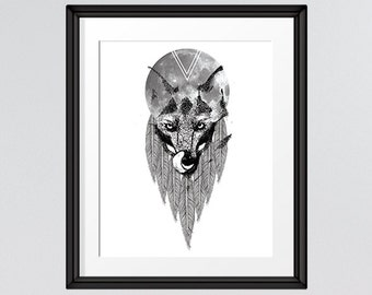 Living Room Decor, Bed Room Decor, Wolf Art, Collage Art, Printable Art, 8x10 Print, INSTANT DOWNLOAD