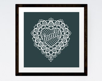 Gift Under 10 Dollars, Family Gift, Gift for Grandma, Lace Heart, INSTANT DOWNLOAD
