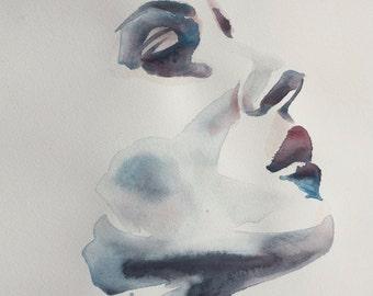 "Portrait XVIII ORIGINAL WATERCOLOUR painting 11.5"" x 16"" - Free Worldwide Shipping"