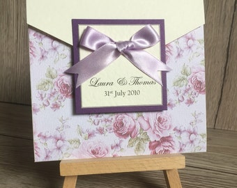50x Beautiful purple floral pocketfold wedding invitation