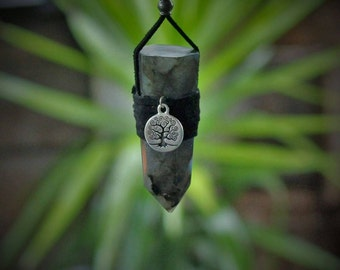 Large Labradorite point with pewter tree of life