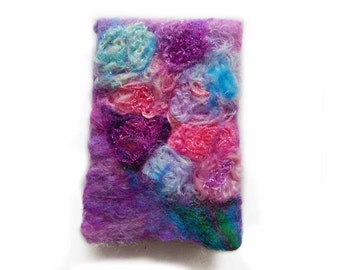 Felted phone pouch, Applied Arts, purple color