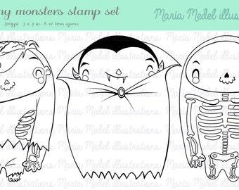 INSTANT DOWNLOAD -   digital Halloween line art stamps set: Zombie, Vampire and Bones