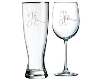 His Pilsner Beer Glass and Her Wine Glass Set