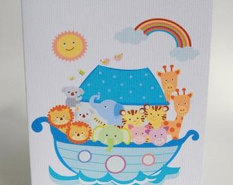 NEW BABY CARD ---Noah's Arc ---Baby shower card--- Birthday card  -- Baptism card
