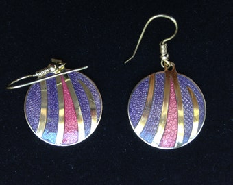 Vintage enamel earrings, cloisonne earrings, dangle earrings, earrings enamel, earrings cloisonne, 1970s cloisonne earrings, vintage enamel