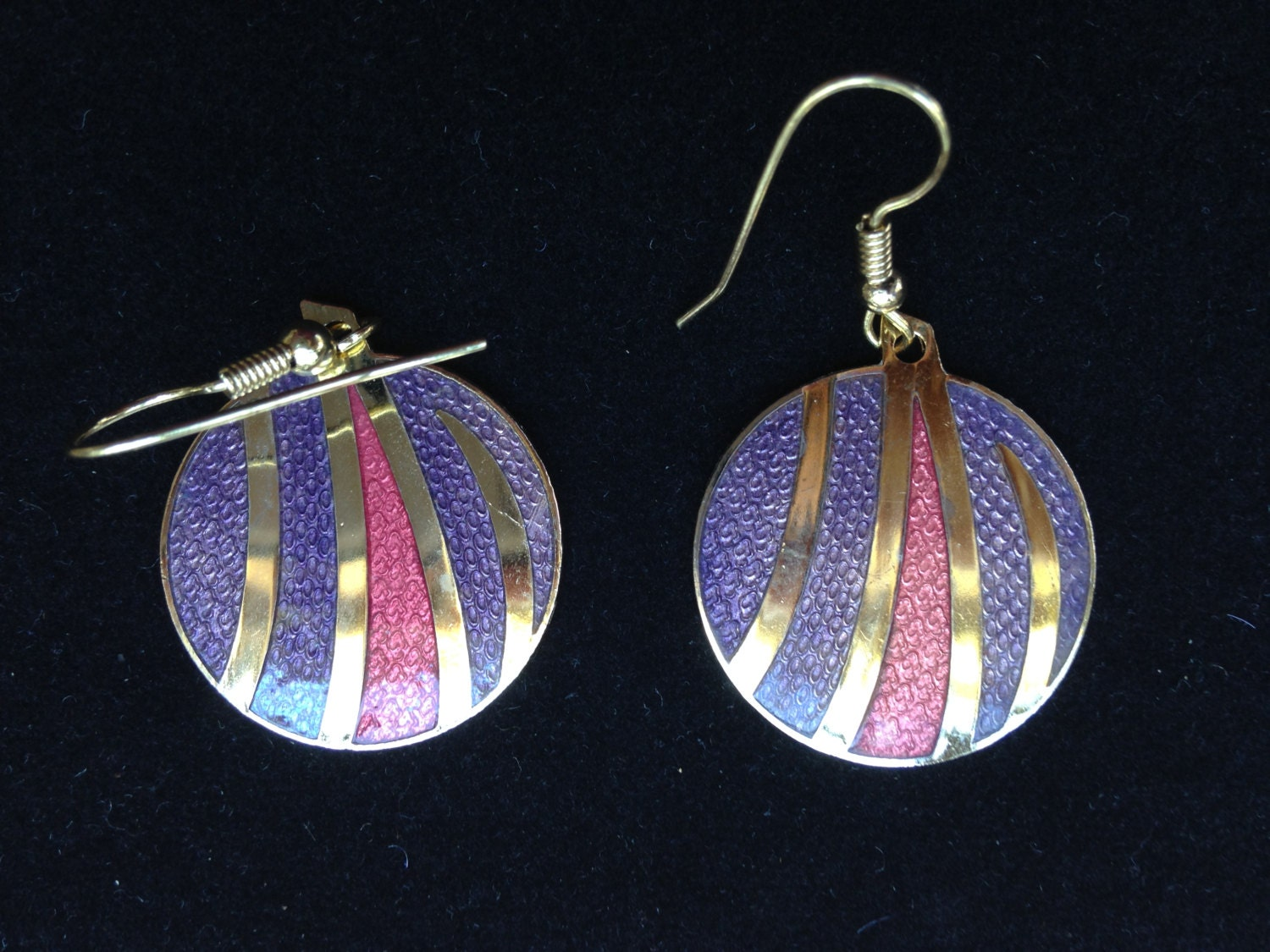 vintage enamel earrings cloisonne earrings dangle earrings