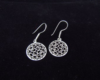 Circular Filigree Earrings.  Colombian Jewelry