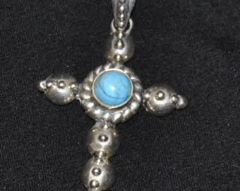 Sterling Silver Turquoise Cross Native American