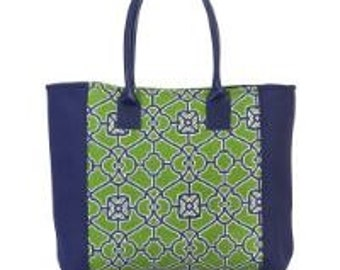 Preppy Navy and Green Eva Tote