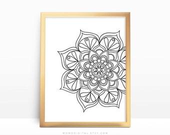 SALE -  Mandala, Black Mandala, Ritual Print, Indian Poster, Cultural, Black Outline, Yoga, Spiritual Symbol, Doodle, Modernism