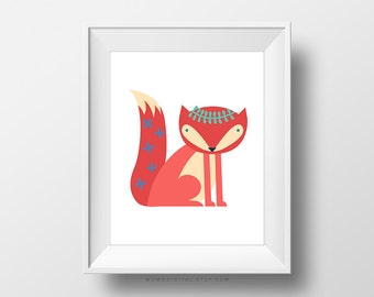 sale fox with crown chic print baby girl nursery girly animal woodland animal nursery animal baby fox dorm flower crown baby nursery cool bee animal