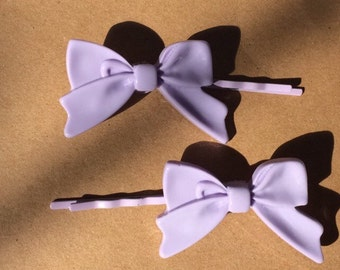 Purple bows bobby pins