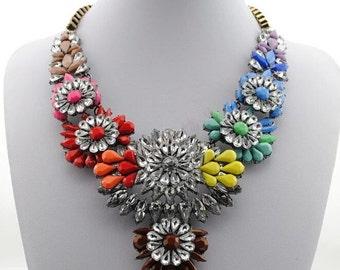 Rainbow Crystal Necklace, Flower Statement Necklace, Colorful Necklace,  Crystal Statement Necklace, Bold Necklace, Rainbow Necklace,