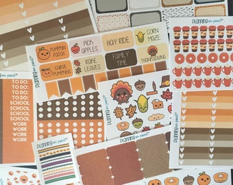 SALE!! The Ultimate Fall October Vertical Erin Condren Planner Stickers Kit!