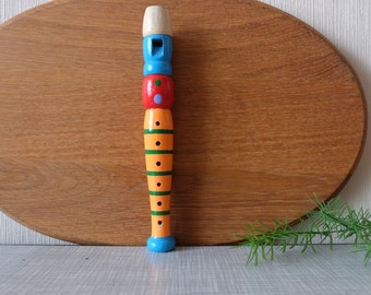 Vintage Carved Wood Musical Pipe, Whistle Hand Painted, Reed Musical Toy, Musical Instruments, Colorful Wooden Folk, Children's Room Decor