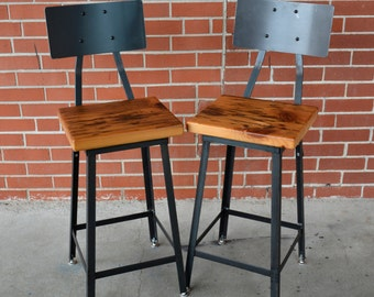 Industrial Reclaimed Wood Stools - FREE SHIPPING