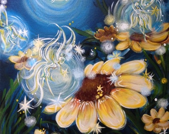Night Fairies and Flowers - Abstract Fantasy Acrylic, Fantasy Art