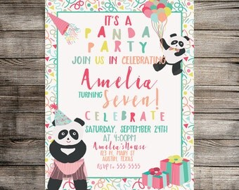 Digital Panda Party Birthday Invitation, Panda Invitation, Panda Birthday Party, Girls Panda Party Invite Printable Invitation