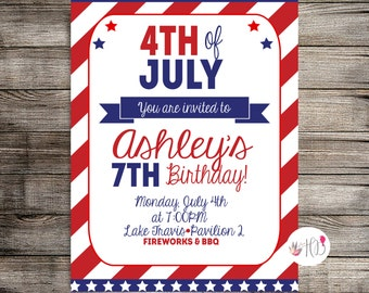 4th of July Birthday Digital Invitation,Fourth of July Invitation, Summer Birthday, Summer Birthday Invitation-Printable Invitation