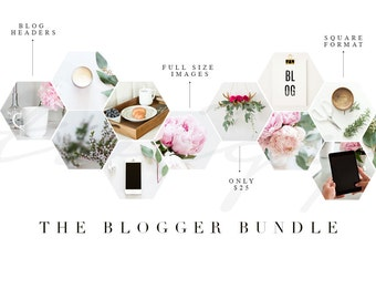 Blog and Instagram Stock Photography Bundle.  Pink Peonies, Scene + Desk Mockup & Coffee. Cheap Stock Photos Blogger Bundle Stock Images