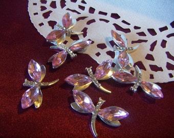 6pcs or 8 pcs Rhinestones Gem Pink Dragonfly Butterfly Pink  or Blue Rhinestone Cabochon Flatback