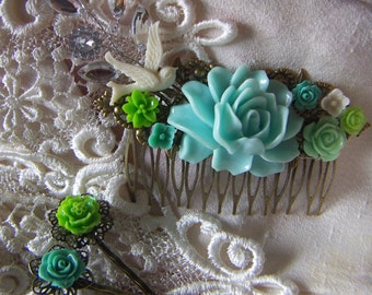 Wedding Hair Comb Soft Blue Light Mint Green Teal Pastel White Ivory Bird Filigree Hair Comb Gift Filigree Hair Pins Clearance Sale