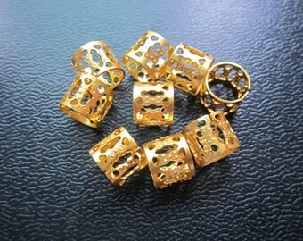 20pcs larger Golden dreadlock Beads gold dread hair braid adjustable cuff tube clip 8.5mm hole