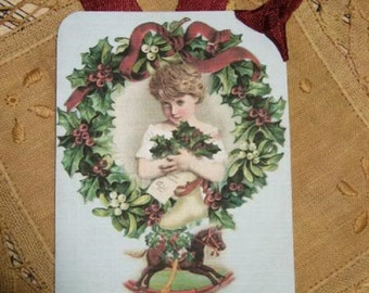 Set of FOUR Vintage Victorian Christmas Wreath hang / gift tags