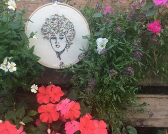 Gibson Girl, Flower Hair Hand Embroidery