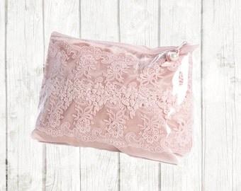 Pink zip bag - wedding gift - lace bag - cosmetic bag - gift bag - lace gift bag - makeup bag - lace makeup bag - pink lace bag