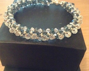 Handmade Crystal Beaded Bracelet with  magnetic clasp