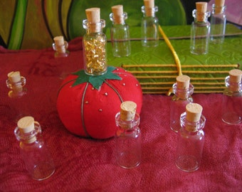 Choose set of Tiny 3mL, 1/10 Oz Small Mini Potion Glass Bottles with #0 REAL OAK Corks for Crafts, Spells, Magick, Steampunk art, pendants!!