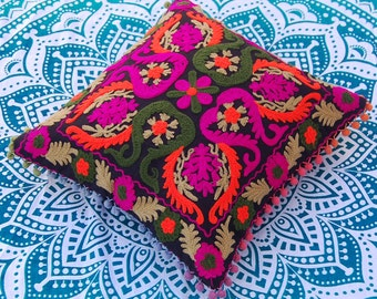 """Multicolored Cotton Pillow Covers Suzani Cushion Covers Uzbekistan Style Handmade Wool Embroidered Cushion Covers Christmas Gift /Decor 16"""""""