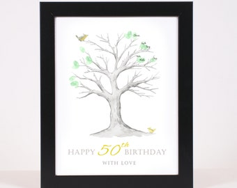 50th Birthday Printable Fingerprint Tree