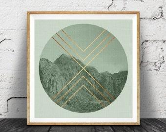Geometric Mountains Print, Sage Green Decor, Faux Rose Gold Copper Foil, Mountain Photo, Moody Photography, Scandinavian Wall Art, Square