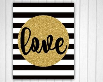 Black and Gold Decor, Love Sign, Love Decor, Black White Gold, Love Wall Art, 11x14 Love Decor, Black White Gold Decor, Love Printable