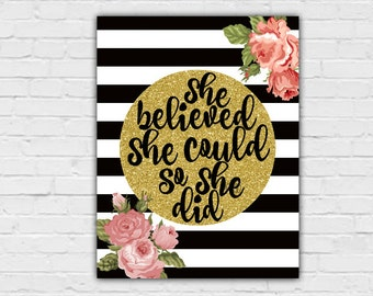 She Believed She Could So She Did, Gold Wall Decor, Gold Wall Art, Inspirational Wall Decor, Motivational Wall Decor,  10x13 Wall Art