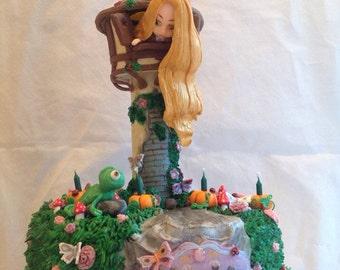 Rapunzel tower cake topper