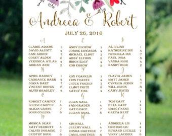 Printable Wedding Seating Chart,Gold Alphabetical Wedding Seating Chart,Rustic Wedding Seating Chart Printable, Floral Wedding Seating Chart