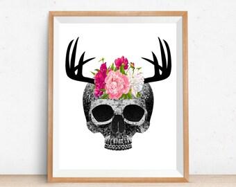 skull home decor etsy