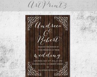 Rustic Wedding Printable Invitation Barn Wood Wedding Invite Country Wedding Printable Invitation Vintage Wedding Invitation Diy Wedding