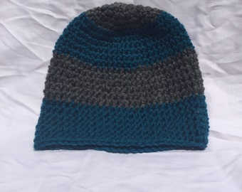 Grey and Ocean Blue Crochet Beanie