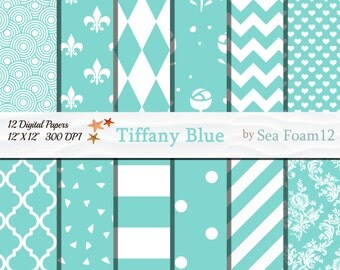 Tiffany Blue Digital Paper, Blue and White, Tiffany Blue Collection, Blue Scrapbooking, Tiffany card-making, Aqua Paper, Wedding Invitations