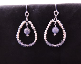 Tanzanite, Freshwater Pearl and Sterling Silver Teardrop Hoop Earrings