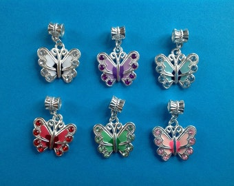 6pcs Silver Plated Dangle Charms Butterfly for European Bracelet