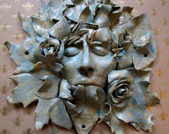 Ceramic wall hanging - 'Wild rose'
