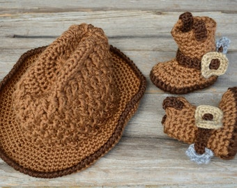 Crochet Cowboy Set, Baby Cowboy Hat and Boots, Photo Prop, Gift